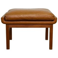 Finn Juhl for France & Son Footstool or Ottoman in Teak and Cognac Leather