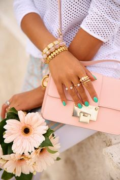 VivaLuxury - Fashion Blog by Annabelle Fleur: PASTEL PAIRINGS: TORY BURCH CASPE SNEAKERS & JIMMY CHOO REBEL BAG