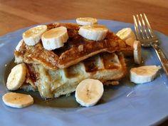 Banana Sour Cream Waffles with Warm Honey- Maple Syrup | Recipe Girl