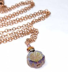 Long Lavender Purple Flower Beaded Pendant Necklace, Czech Hawaiian Glass Bead, Boho Chic Necklace Jewelry, Gift For Her