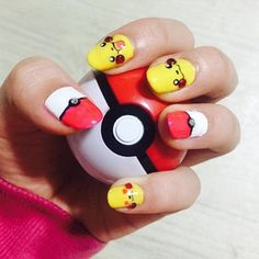 Bring out your inner Misty with these Pokemon nails. Winter Nails, Spring Nails, Summer Nails, Pokemon, Short Nail Manicure, Manicure Ideas, Nail Ideas, Hoilday Nails, New Years Eve Nails