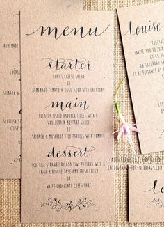 New calligraphy invitations for rustic, outdoor or quirky weddings - 10%…