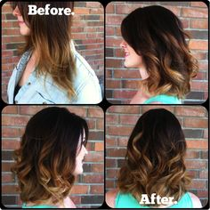 Curled long bob with caramel ombre. @sarahgossetthair