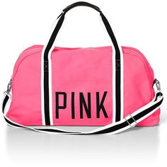 Victoria's Secret Large Sporty Duffle (1.415 UYU) ❤ liked on Polyvore featuring bags, sport, neon hot pink, victoria secret pink bags, tote bag, pink tote handbags, totes duffle bag and sport bag