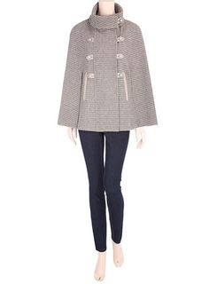 Taupe tweed piped cape