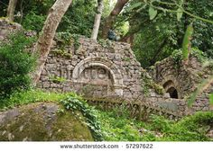 Ruins in Castle of the Moors (Castelo dos Mouros)  in the town of Sintra, Portugal. Located on a high hill overlooking the town. UNSECO Worl...