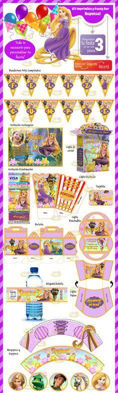 (8) Kit Imprimible Y Candy Bar Rapunzel Enredados Invitaciones - $ 44,99 en MercadoLibre