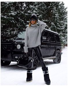 Snow Boots Outfit, Black Leggings Outfit, Winter Boots Outfits, Legging Outfits, Winter Fashion Outfits, Autumn Winter Fashion, Leather Leggings, Outfit Winter, Winter Boots For Women