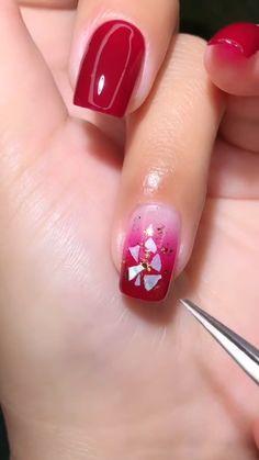 Nail Art Designs Videos, Red Nail Designs, Simple Acrylic Nails, Simple Nails, Shellac Nails, Manicure And Pedicure, Holiday Nails, Christmas Nails, Ocean Nail Art