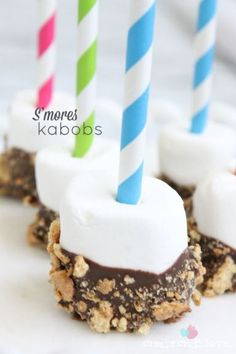 Create your own S'more Kabobs!  No campfire needed!  www.createcraftlove.com