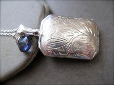 Vintage  Sterling  Locket Necklace and Iolite by Sylviajewelry, $124.00