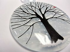 Fused Glass white round tree ornament / suncatcher