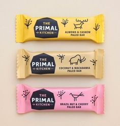 The Primal Kitchen paleo snack packaging by Midday. Nice colour palette and chunky strokes.