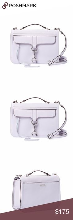 """NWT Rebecca Minkoff Bowery Small Leather Satchel NWT Beautiful Crossbody Satchel   Color: Lilac  Single flat top handle and optional shoulder strap Exterior front zipper pocket with secondary hook closure Exterior back flat pocket Fabric interior lining with one flat pocket Flap top with magnetic snap closure  Measurements: Body length 10"""", height 7"""", width 3"""", drop handle 1"""", strap drop 20""""  Material: Leather Rebecca Minkoff Bags Satchels"""