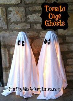 Tomato Cage Ghosts...these are so easy, the kids will love helping put them together!  http://www.craftymisadventures.com/2012/10/tomato-cage-ghosts.html