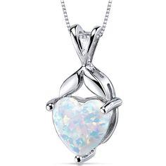 Revoni Opal Pendant Necklace Sterling Silver Heart Shape 2.50 Carats