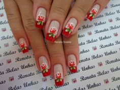 Unhas Decoradas com Flores Flower Nails, Nail Arts, Spring Nails, Diy And Crafts, Nail Designs, Makeup, Motifs, Hair, Perfect Nails