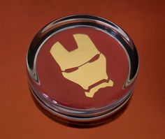 Solid Glass Round Ironman Face by UnofficiallyOriginal on Etsy Ferrari Logo, Paper Weights, Iron Man, Unique Jewelry, Handmade Gifts, 3d, Superhero, Glass, Face