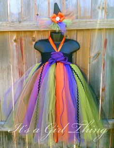 DIY kids witch tutu costume | ... Witch Tutu Dress with Mini Witch Hat - for Halloween - Any Child Size