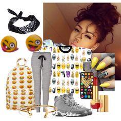 emoji joggers - Google Search Teenage Outfits For School, Summer School Outfits, Back To School Outfits, Outfits For Teens, Casual Dress Outfits, Preppy Outfits, Swag Outfits, Cute Outfits, Girls Joggers