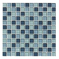 American Olean 12-in x 12-in Delfino Glass Ocean Blues Glass Wall Tile - Final Choice we thought.. now no wall tile just beautiful orangish-yellow walls