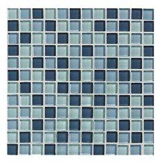 American Olean 12-in x 12-in Delfino Glass Ocean Blues Glass Wall Tile