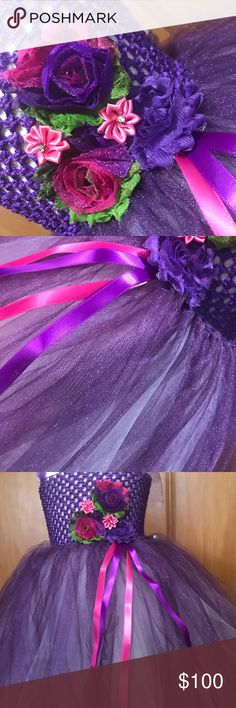 Purple rain tutu dress Handmade tutu dress flowers And ribbon s high quality tulle fabric Dresses Formal