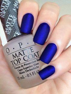 Long Dark Blue Matte Nails
