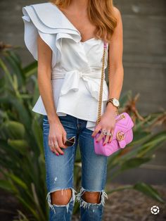 White ruffle one shoulder top