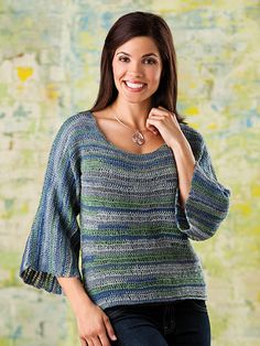 Alternating rows of Tunisian knit stitch and regular Tunisian stitch create light, airy texture and fluid drape in this relaxed pullover. This e-pattern was originally published in the August 2013 issue of Crochet World magazine. Size: Includes Woman's S through 3XL. Made with super fine (sock) weight yarn and size H/8/5mm afghan hook.Skill Level: Intermediate