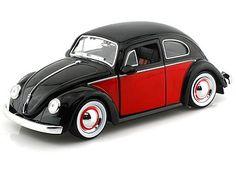 1959 VolksWagen Beetle w/ moon rims 1/24 Black w/ Red - Jada Toys Diecast