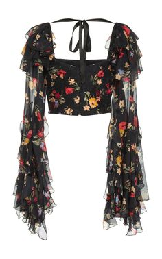 Floral Printed Silk Satin Cropped Blouse by RODARTE for Preorder on Moda Operandi