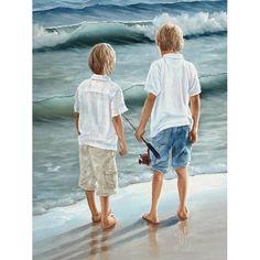 Going Fishing--my blond boys :]