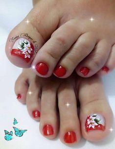 Pedicure Designs, Pedicure Nail Art, Toe Nail Designs, Toe Nail Art, Cute Toe Nails, Cute Toes, Pretty Toes, Painted Toe Nails, Cute Pedicures