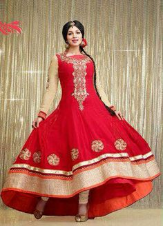 USD 88.16 Ayesha Takia Cream and Red Designer Kalidar Salwar Kameez