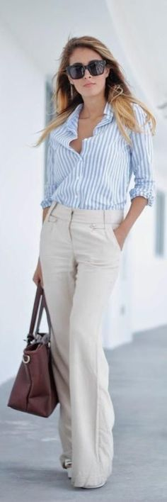 business casual – work outfit – office wear – street chic style – white or cream flare pants + light blue and white stripped shirt + brown handbag