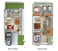 Planos de Casas y Plantas Arquitectónicas de Casas y Departamentos: Planta arquitectónica de casa de dos pisos con estancia en planta alta