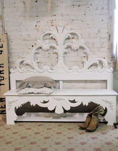 Painted Cottage Chic Shabby White Handmade bench.. Love!!!!