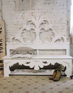 Painted Cottage Chic Shabby White Handmade bench.. Love!!!!