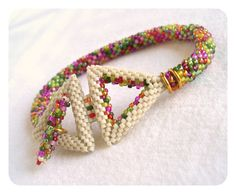 Autumn Fruits and Cream  Bead Crochet Bracelet with by DianaCoe