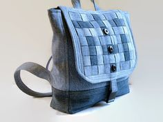 Denim Backpack, Jean Rucksack Bag, Large Woven Blue Jean Bag, Upcycled Recycled Repurposed Fabric Bag