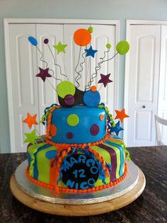 Neon Birthday Cake Cakes Pinterest Neon Birthday Cakes - Neon birthday party cakes