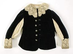 American suit from the late 19th century; made of cotton and silk; buttoned down front; lace collar; lace trimming on sleeves; silk fabric under arms