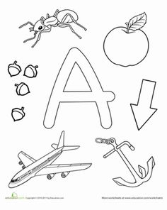 Preschool The Alphabet Letter A Worksheets: A Is For...