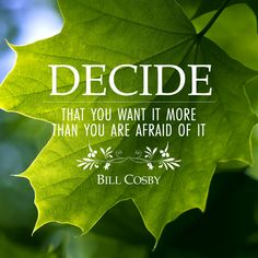 """Decide that you want it more than you are afraid of it"" - Bill Cosby"