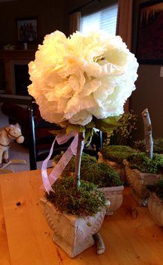 Silk Peony Topiary: ceramic pot, floral foam, plaster of paris, small tree branch, moss, foam ball, 22 silk peonies, ribbon