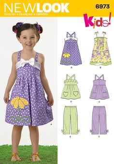 6973- Children's Separates - Children's sundress, top and pants. New Look Kids! sewing pattern.