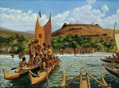 Herb Kane - Painting Image Catalog - Historical Events- Kamehameha Landing at Oahu