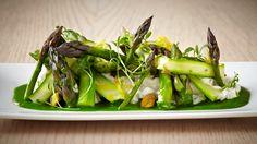 White asparagus tzatziki, pistachios, green asparagus and lemon zest