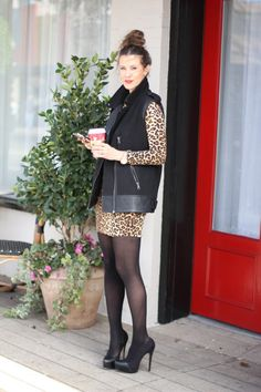 cheetah dress & the older I get more appealing sexy stockings are !